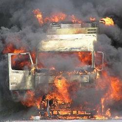 Под Казанью на трассе загорелся КАМАЗ (ВИДЕО)