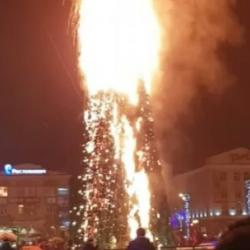 25-метровая главная елка Сахалина сгорела в новогоднюю ночь (ВИДЕО)