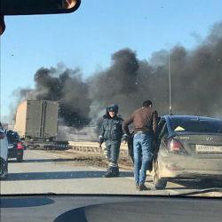 В Верхнеуслонском районе на ходу загорелся большегруз (ФОТО)