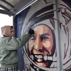 В Казани появилось граффити с космонавтом Юрием Гагариным. С ошибкой (ФОТО)