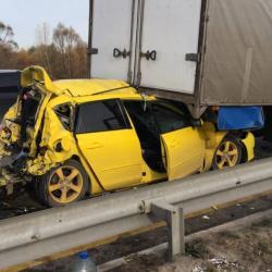 Фура с отказавшими тормозами смяла легковой автомобиль на М7 (ВИДЕО)